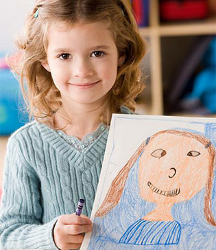 Girl with a drawn self-portrait